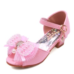 Ragazze Punta aperta finta pelle tacco basso Stiletto Scarpe Flower Girl con Perline Bowknot Fibbia
