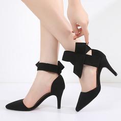 Frauen Veloursleder Stöckel Absatz Sandalen Absatzschuhe Geschlossene Zehe mit Bowknot Schuhe