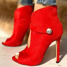 Women's PU Spool Heel Pumps Peep Toe أحذية