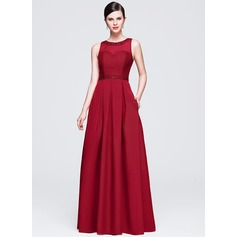 A-Line/Princess Scoop Neck Floor-Length Satin Lace Evening Dress With Beading Sequins