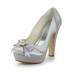 Women's Satin Chunky Heel Closed Toe Platform Pumps With Bowknot Imitation Pearl