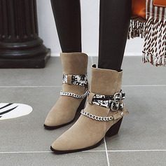Women's Suede Cone Heel Pumps Boots Mid-Calf Boots With Buckle Chain shoes