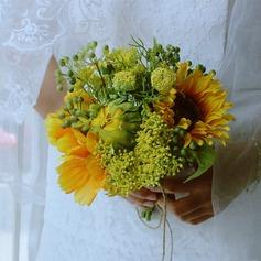 Girassol único Forma livre Cetim/Seda artificiais Buquês de noiva -