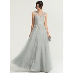 A-Linie/Princess-Linie U-Ausschnitt Bodenlang Tüll Abendkleid