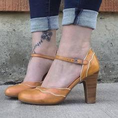 Kvinnor PU Tjockt Häl Pumps med Spänne skor