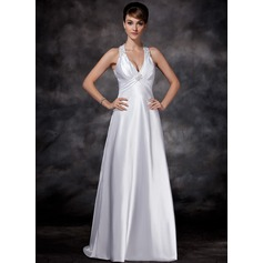 Sheath/Column Halter Sweep Train Charmeuse Wedding Dress With Ruffle Beading