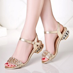 Women's Leatherette Low Heel Sandals Beach Wedding Shoes With Buckle Rhinestone