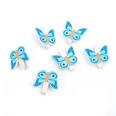 Papillon En bois Clips (Lot de 6)