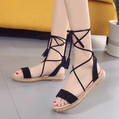 Kvinnor Mocka Flat Heel Sandaler Peep Toe Slingbacks med Bandage skor