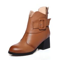 Mulheres Couro verdadeiro Salto robusto Bota no tornozelo sapatos