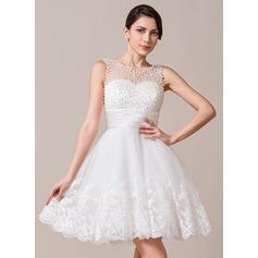 Vestidos princesa/ Formato A Decote redondo Coquetel Tule Vestido de noiva com Pregueado Bordado Apliques de Renda