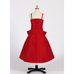 A-Line/Princess Tea-length Flower Girl Dress - Taffeta Sleeveless Straps With Ruffles/Bow(s)