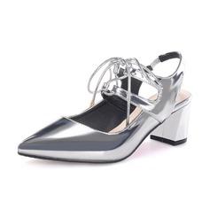 De mujer Piel brillante Tacón ancho Salón Cerrados Solo correa zapatos
