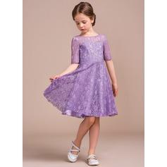 A-Line Scoop Neck Knee-Length Lace Junior Bridesmaid Dress
