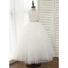 Forme Princesse Longueur cheville Robes à Fleurs pour Filles - Tulle/Dentelle Sans manches Col rond avec Ceintures