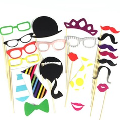 Funny Mask Beard Card Paper Photo Booth Props (22 Pieces)