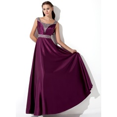 A-Line/Princess Floor-Length Charmeuse Evening Dress With Ruffle Sequins