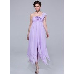 Empire One-Shoulder Ankle-Length Chiffon Holiday Dress With Flower(s) Cascading Ruffles