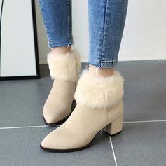 Femmes Suède Talon bottier Escarpins Bottes Bottines avec Zip Fausse Fourrure chaussures