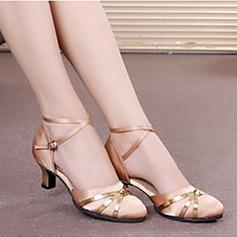 Femmes Satiné Talons Sandales Escarpins Salle de bal avec Lanière de cheville Ouvertes Paillette Chaussures de danse