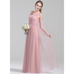 Vestidos princesa/ Formato A Decote V Longos Tule Vestido de madrinha com Pregueado Beading lantejoulas