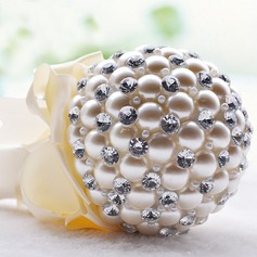 Fancy Round Venetian Pearl/Rhinestone/Imitation Pearl Bridesmaid Bouquets -