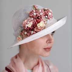Signore Affascinante/Fatto a mano/Nizza Cambrì con Fiore di seta/Di faux perla Kentucky Derby Hats/Cappelli da Tea Party
