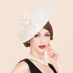 Senhoras Elegante Primavera/Verão Cambraia com Chapéu de Coco / Cloche de Chapéu