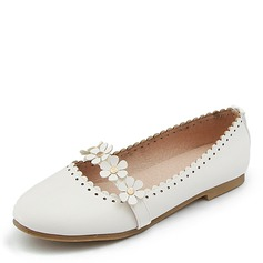 Women's Leatherette Flat Heel Flats With Flower
