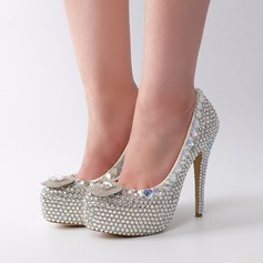 Women's Real Leather Stiletto Heel Platform Pumps With Buckle Rhinestone