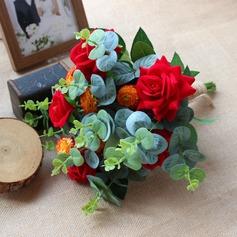 Forme libre Satiné Bouquets de mariée/Bouquets de demoiselle d'honneur (vendu en une seule pièce) -