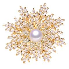 En forma de flor Aleación/Diamantes de imitación/La perla de faux con Rhinestone/La perla de faux Señoras' Broche