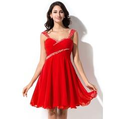 Vestidos princesa/ Formato A Coração Curto/Mini De chiffon Vestido de boas vindas com Pregueado Bordado Lantejoulas
