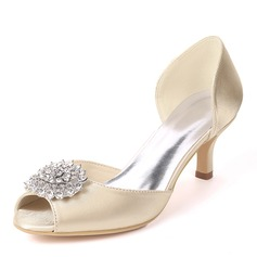 Donna raso di seta come Tacco a spillo Stiletto con Strass