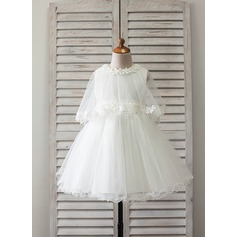A-Line/Princess Knee-length Flower Girl Dress - Satin/Tulle Sleeveless Scoop Neck With Lace/Appliques