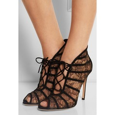 Kvinnor Spets Stilettklack Sandaler Peep Toe skor