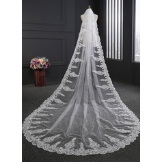 One-tier Lace Applique Edge Cathedral Bridal Veils With Lace (006114031)