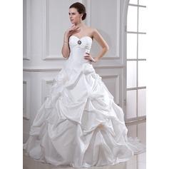 Forme Marquise Bustier en coeur Traîne mi-longue Taffeta Robe de mariée avec Plissé Emperler Fleur(s)