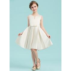 A-Linie U-Ausschnitt Knielang Satin Kleider für junge Brautjungfern mit Schleife(n)