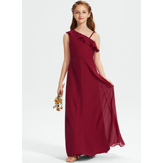 A-Line Floor-Length Chiffon Junior Bridesmaid Dress With Ruffle