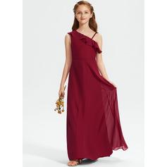 A-linjainen Yksiolkaiminen Lattiaa hipova pituus Sifonki Nuorten morsiusneito mekko jossa Rypytys