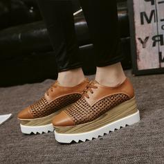 Frauen Kunstleder Flache Schuhe Geschlossene Zehe mit Zuschnüren Hohl-out Schuhe