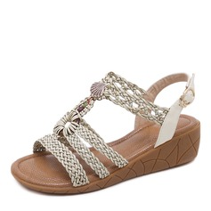 Women's Leatherette Wedge Heel Sandals Wedges Peep Toe Slingbacks With Rhinestone Braided Strap shoes