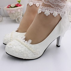 Women's Leatherette Spool Heel Closed Toe With Lace-up Applique
