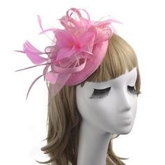 Señoras' Estilo clásico/Elegante/Estilo de la vendimia Lino con Pluma/Flores de seda/Tul Tocados
