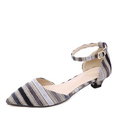 Women's Cloth Low Heel Pumps Closed Toe With Buckle shoes