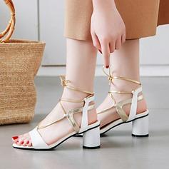 Vrouwen PU Chunky Heel Sandalen Pumps Peep Toe Slingbacks met Vastrijgen schoenen