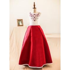Robe Marquise Longueur ras du sol Robes à Fleurs pour Filles - Satiné Sans manches Col rond avec À ruban(s)