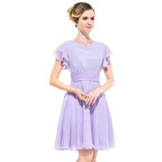 Vestidos princesa/ Formato A Decote redondo Coquetel De chiffon Vestido de madrinha com Bordado Babados em cascata