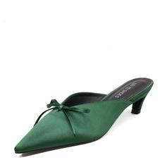 Femmes Satiné Talon bas Chaussons avec Bowknot chaussures